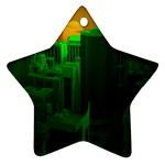 Green Building City Night Star Ornament (Two Sides)  Front