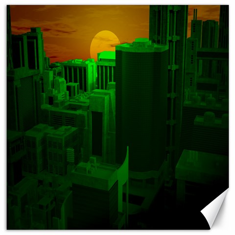 Green Building City Night Canvas 16  x 16