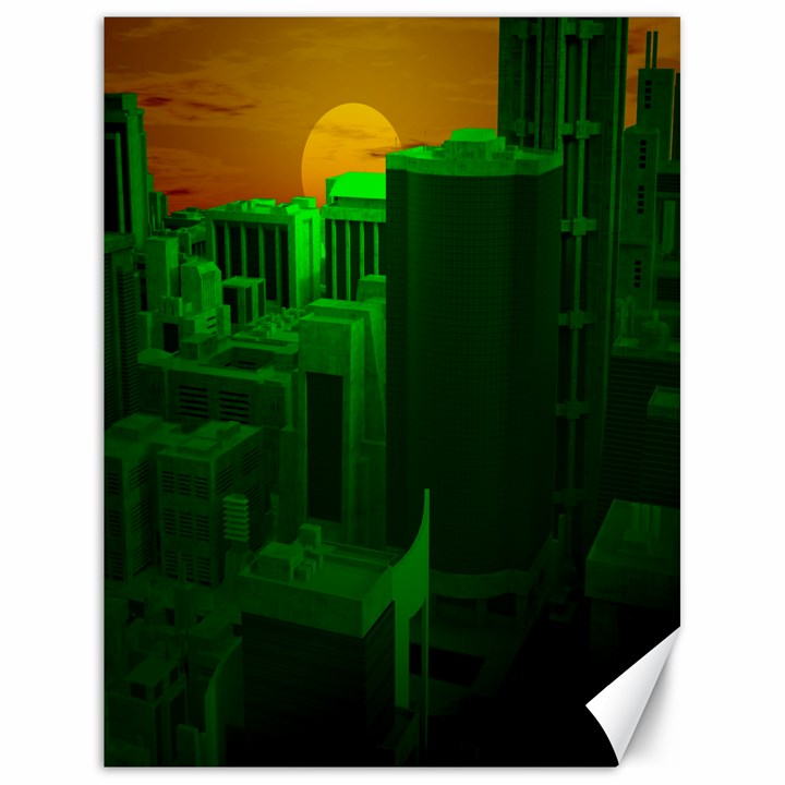 Green Building City Night Canvas 18  x 24