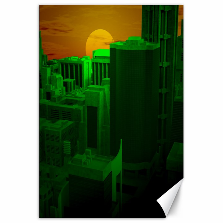 Green Building City Night Canvas 20  x 30
