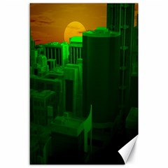 Green Building City Night Canvas 24  x 36
