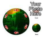 Green Building City Night Playing Cards 54 (Round)  Front - HeartK