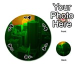 Green Building City Night Playing Cards 54 (Round)  Front - Club4