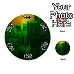 Green Building City Night Playing Cards 54 (Round)  Front - Club10