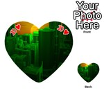 Green Building City Night Playing Cards 54 (Heart)  Front - Heart10