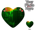 Green Building City Night Playing Cards 54 (Heart)  Front - HeartK