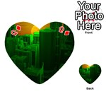 Green Building City Night Playing Cards 54 (Heart)  Front - DiamondQ