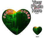 Green Building City Night Playing Cards 54 (Heart)  Front - Joker2