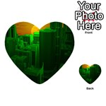 Green Building City Night Playing Cards 54 (Heart)  Back