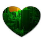 Green Building City Night Heart Mousepads Front