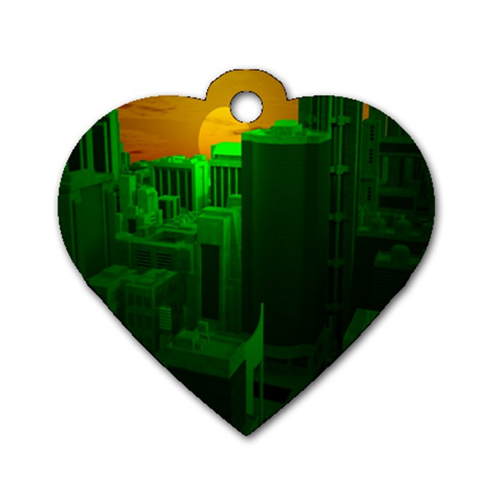 Green Building City Night Dog Tag Heart (One Side)