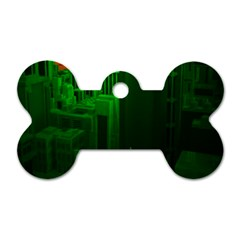 Green Building City Night Dog Tag Bone (Two Sides)