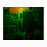 Green Building City Night Small Glasses Cloth (2-Side) Front