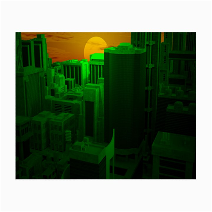 Green Building City Night Small Glasses Cloth (2-Side)
