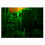 Green Building City Night Large Glasses Cloth Front