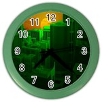 Green Building City Night Color Wall Clocks Front