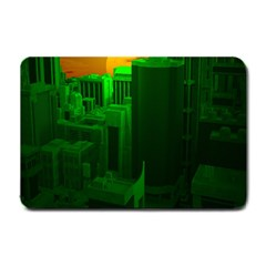 Green Building City Night Small Doormat
