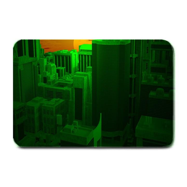 Green Building City Night Plate Mats