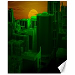 Green Building City Night Canvas 11  x 14   14 x11 Canvas - 1