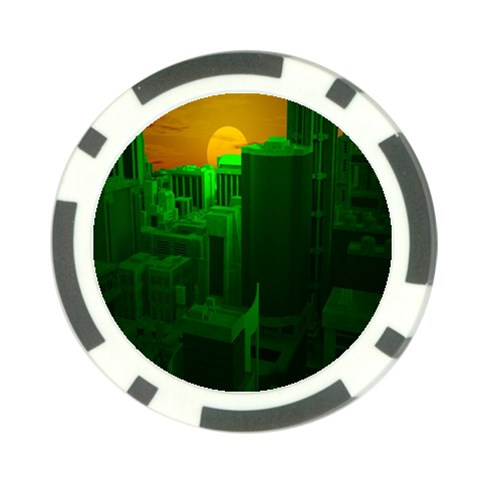 Green Building City Night Poker Chip Card Guards