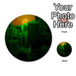 Green Building City Night Multi-purpose Cards (Round)  Back 1
