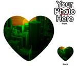 Green Building City Night Multi-purpose Cards (Heart)  Back 19