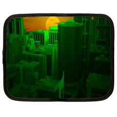 Green Building City Night Netbook Case (Large)