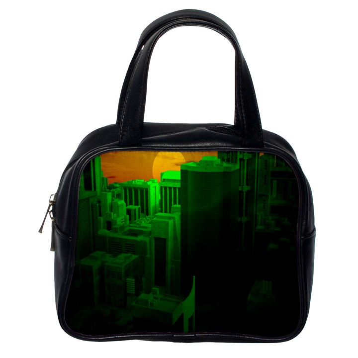 Green Building City Night Classic Handbags (One Side)