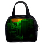 Green Building City Night Classic Handbags (2 Sides) Front