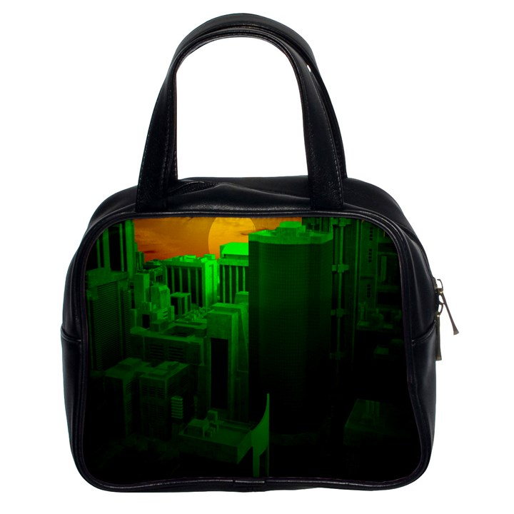 Green Building City Night Classic Handbags (2 Sides)