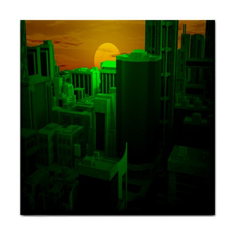Green Building City Night Face Towel