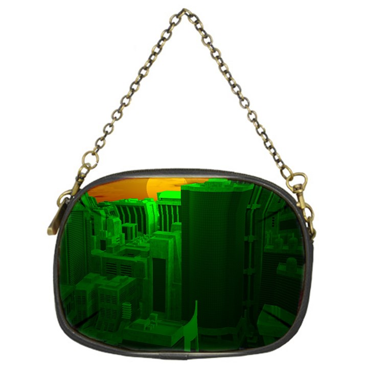 Green Building City Night Chain Purses (One Side)