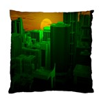 Green Building City Night Standard Cushion Case (Two Sides) Back