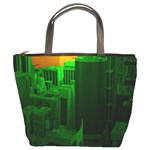 Green Building City Night Bucket Bags Front