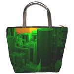 Green Building City Night Bucket Bags Back