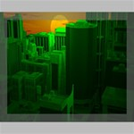 Green Building City Night Canvas 14  x 11  14  x 11  x 0.875  Stretched Canvas