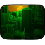 Green Building City Night Double Sided Fleece Blanket (Mini)  35 x27 Blanket Front