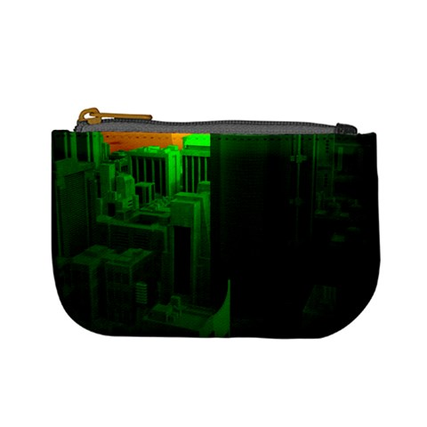 Green Building City Night Mini Coin Purses