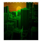 Green Building City Night Shower Curtain 66  x 72  (Large)  58.75 x64.8 Curtain