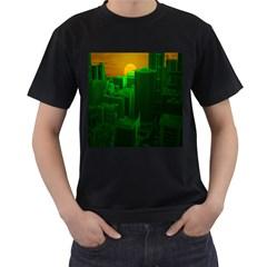 Green Building City Night Men s T-Shirt (Black)