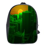 Green Building City Night School Bags(Large)  Front