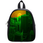 Green Building City Night School Bags (Small)  Front