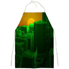Green Building City Night Full Print Aprons