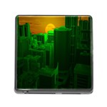 Green Building City Night Memory Card Reader (Square) Front