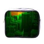 Green Building City Night Mini Toiletries Bags Front