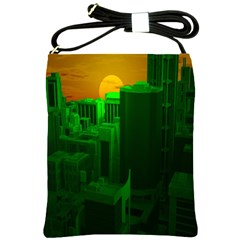 Green Building City Night Shoulder Sling Bags