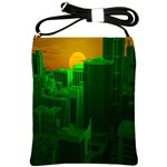 Green Building City Night Shoulder Sling Bags Front