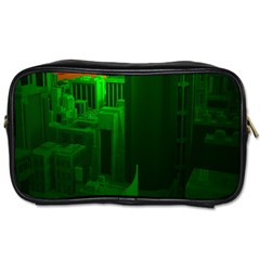 Green Building City Night Toiletries Bags
