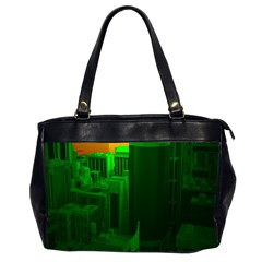 Green Building City Night Office Handbags (2 Sides)