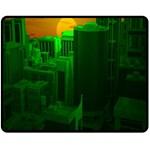 Green Building City Night Fleece Blanket (Medium)  60 x50 Blanket Front